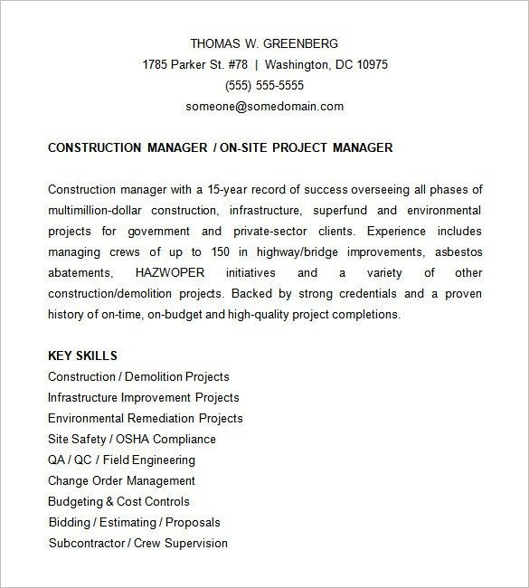 Project Manager Resume Template – 6+ Free Samples, Examples ...