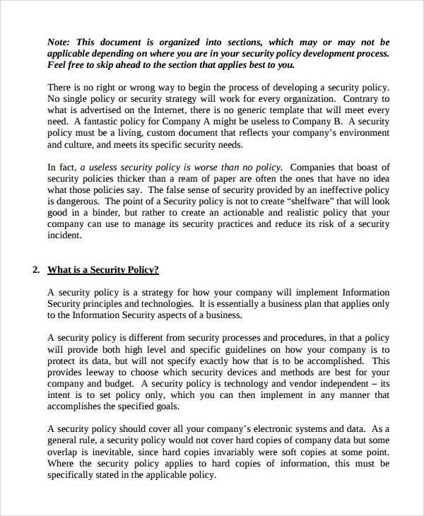 Sample IT Security Policy Template - 9+ Free Documents Download in ...