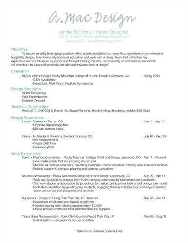 Interior Designer Resume Objective