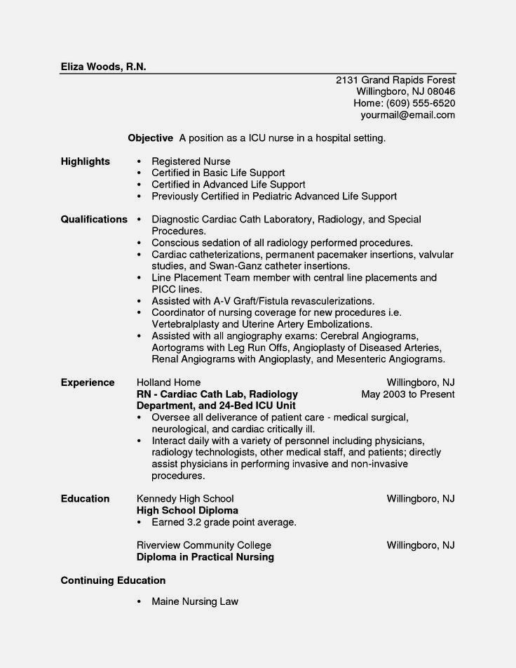 perfect sample nursing resumes for a new grad resume template