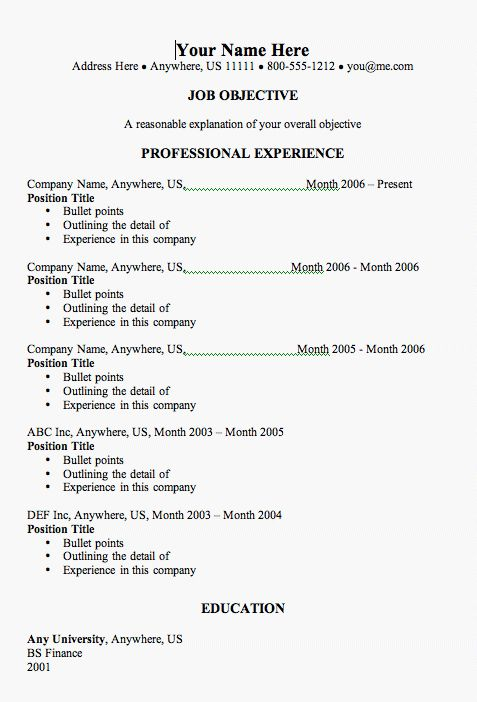 Resume Sample For Job Application | Experience Resumes