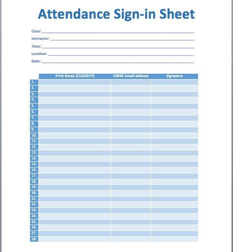 Epic Template for Attendance Sign-in Sheet with Print Name and ...