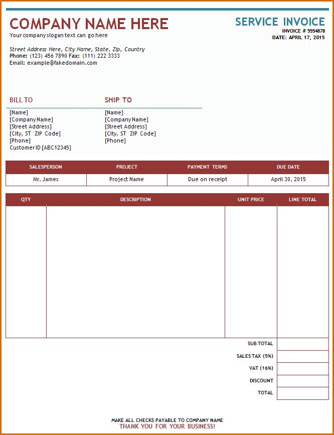 8+ free online invoice template   Authorizationletters.org