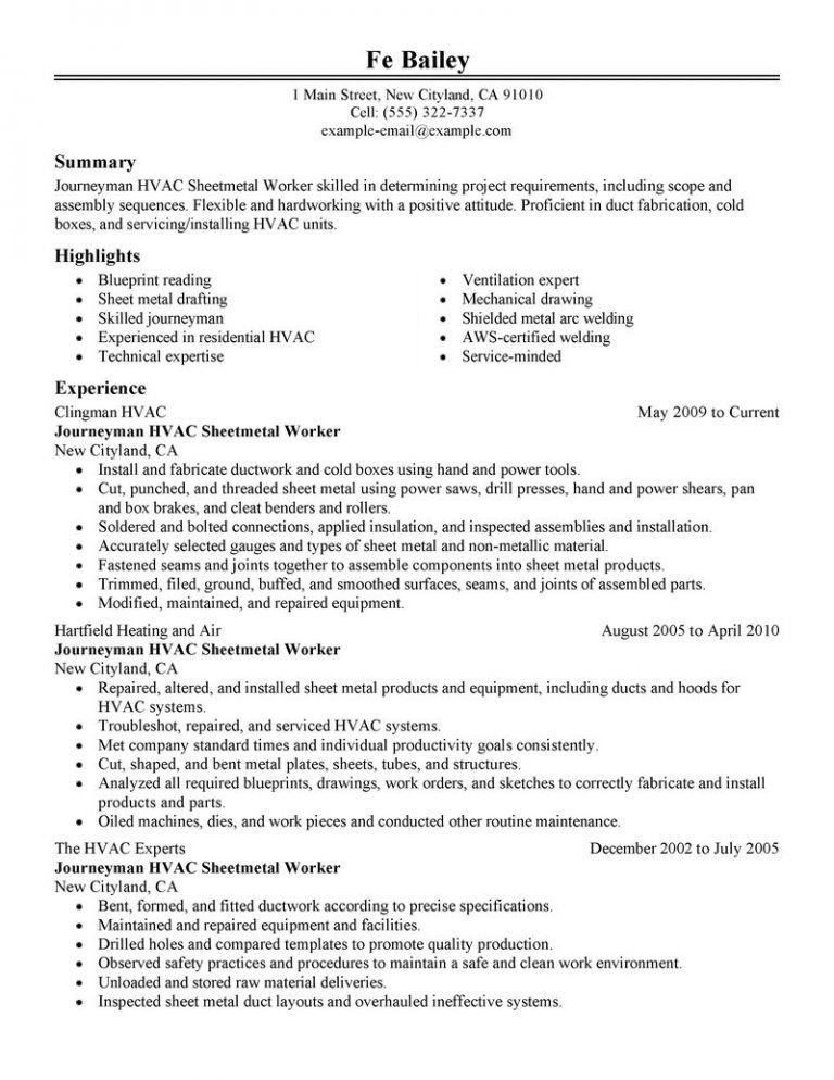 Chic Hvac Resume 10 Best Journeymen Hvac Sheetmetal Workers Resume ...