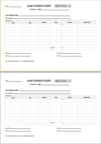 CASH PAYMENT RECEIPT for Word | Word & Excel Templates