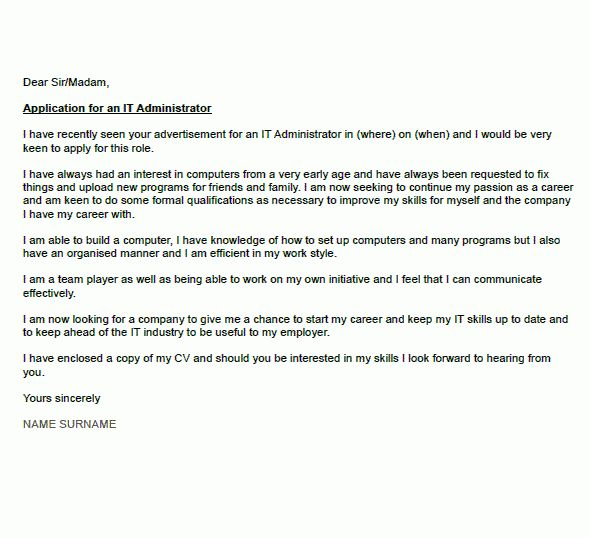 IT Administrator Cover Letter Example - icover.org.uk