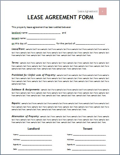 Lease Agreement Template | Company Documents