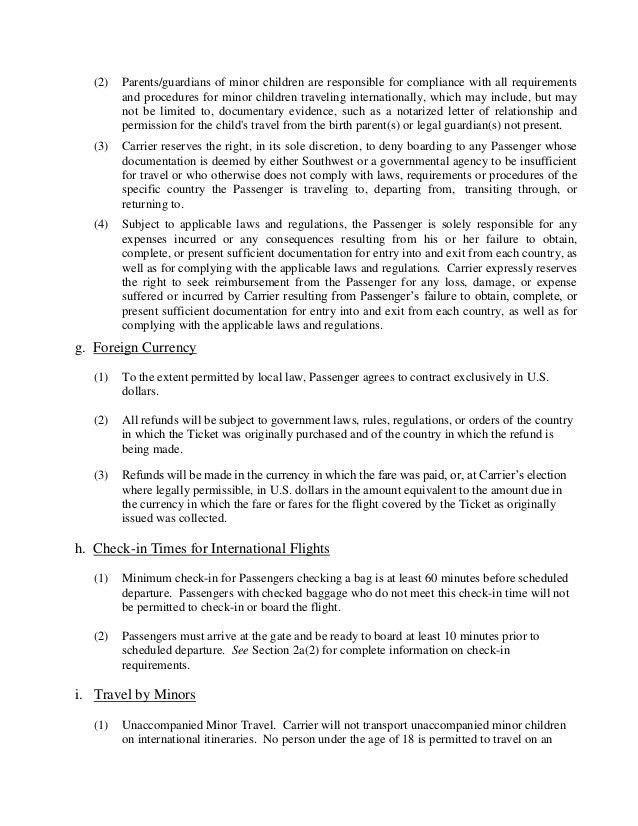 Southwest passenger agreement contract of-carriage