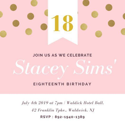 18th Birthday Invitation Templates - Canva