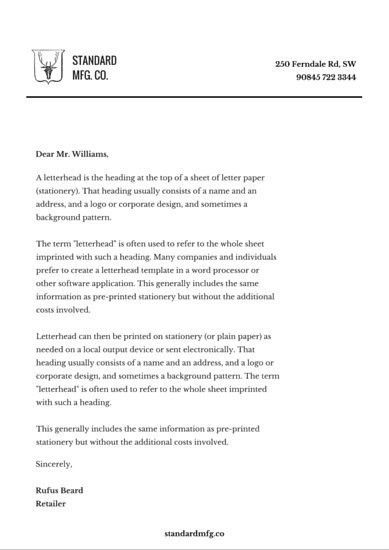 Minimalist Manufacturing Company Letterhead - Templates by Canva