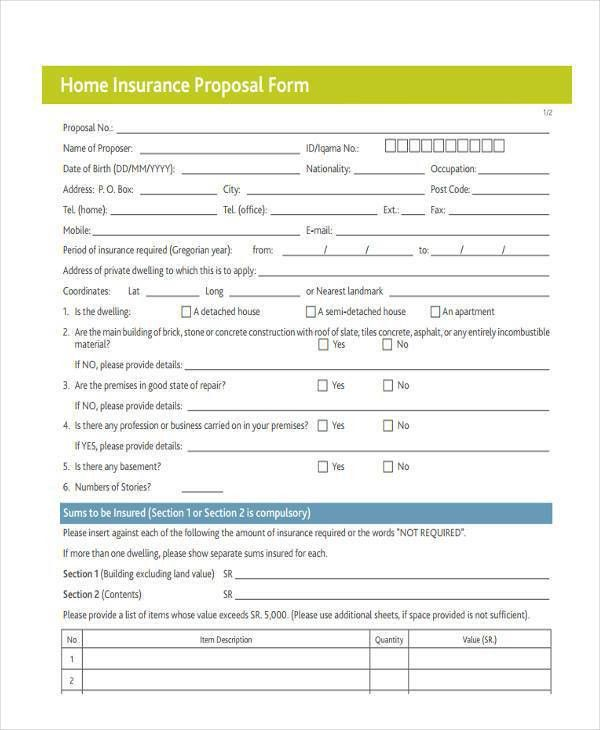 Blank Proposal Forms