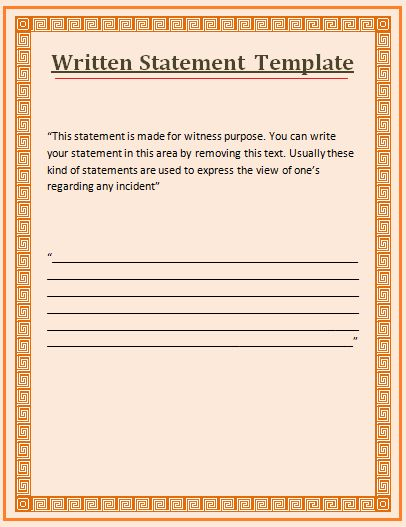 how to write a witness statement for work | Free Word Templates