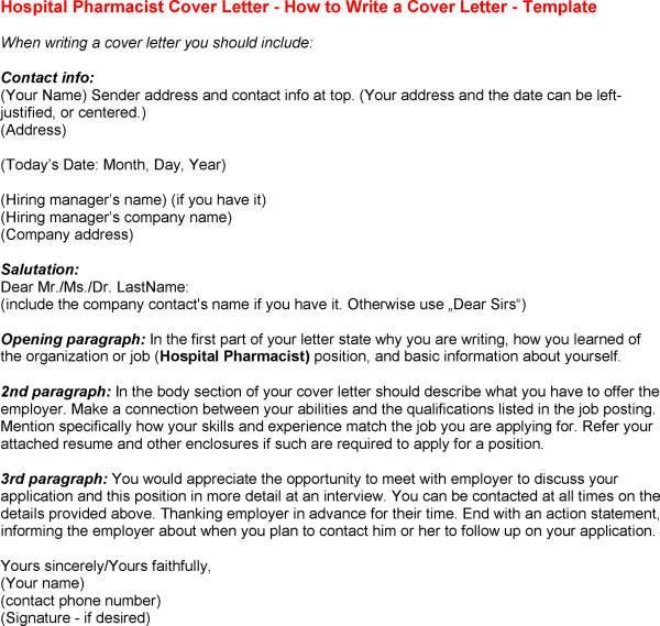 Pharmacist Cover Letter - My Document Blog