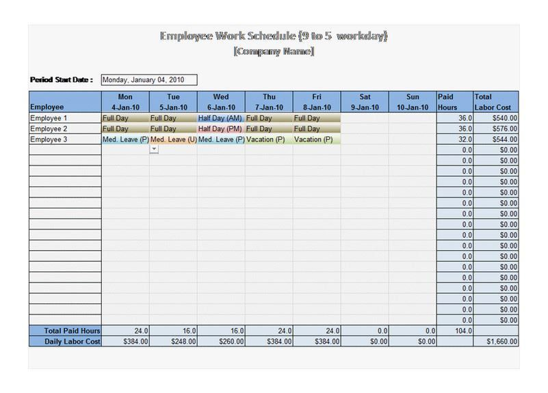 schedule template excel