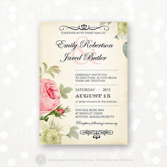Printable Wedding Invitation Pink Roses Vintage Weddings Invite ...