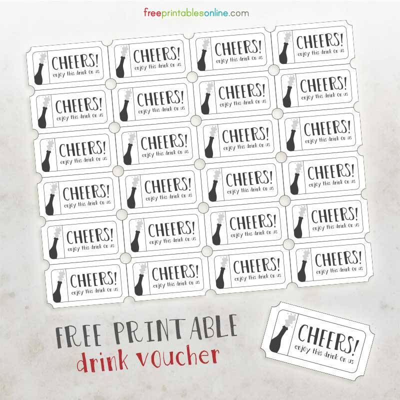 Cheers Free Printable Drink Vouchers | Free Printables Online