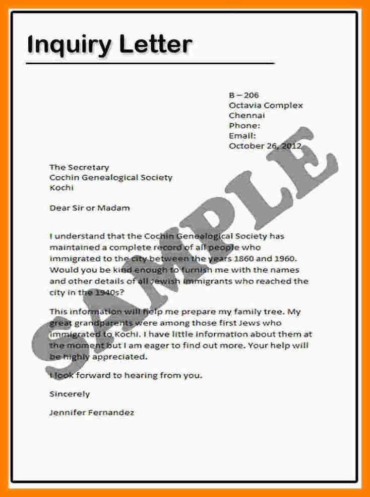 Letter Of Inquiry Sample Letters Of Inquiry Formal Letters How