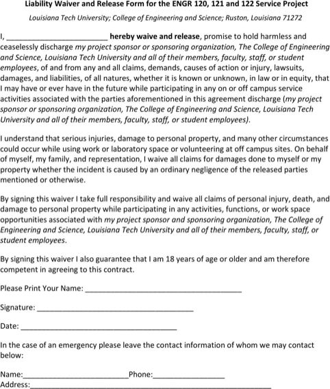 Legal Waiver Form Templates Waiver And Release Canada Legal – Generic Liability Waiver and Release Form
