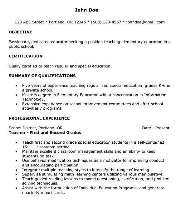 First Year Teacher Resume Template - Free Samples , Examples ...