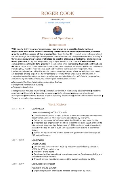 Lead Pastor Resume samples - VisualCV resume samples database