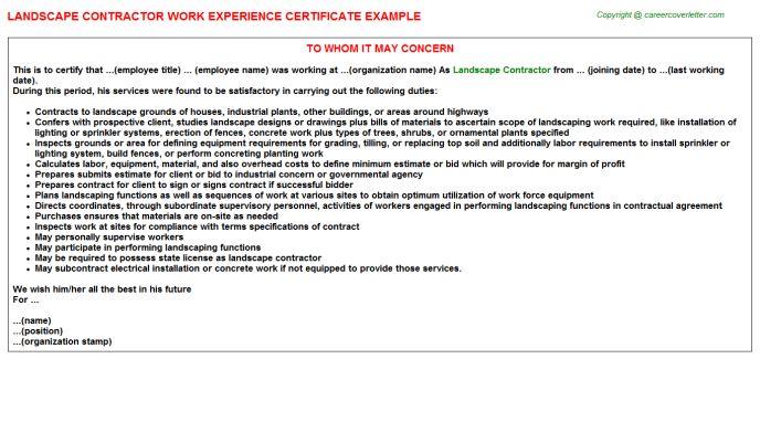 Landscape Contractor Work Experience Certificate