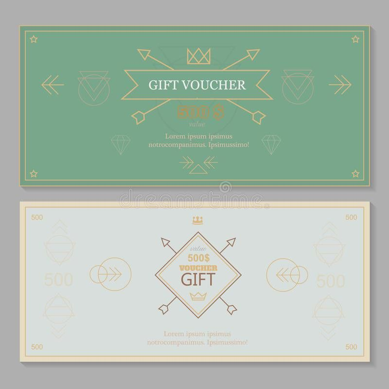 Gift Certificate Voucher Coupon Template Hipster Stock Vector ...