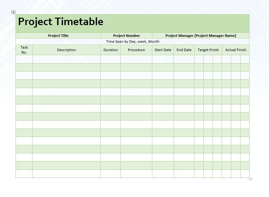 Project Timetable – Word Template – Microsoft Word Templates