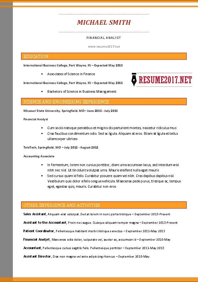 Combination resume format 2017 •