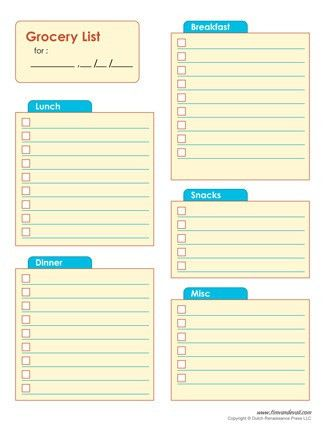 Blank Shopping List Template PDF - Tim's Printables