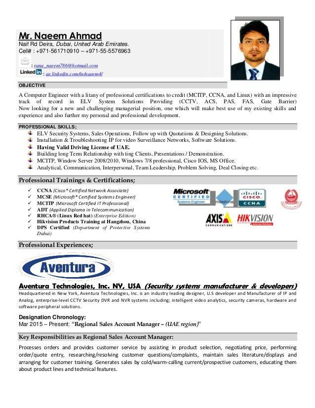 Resume for Sales Manager (Naeem Ahmad)