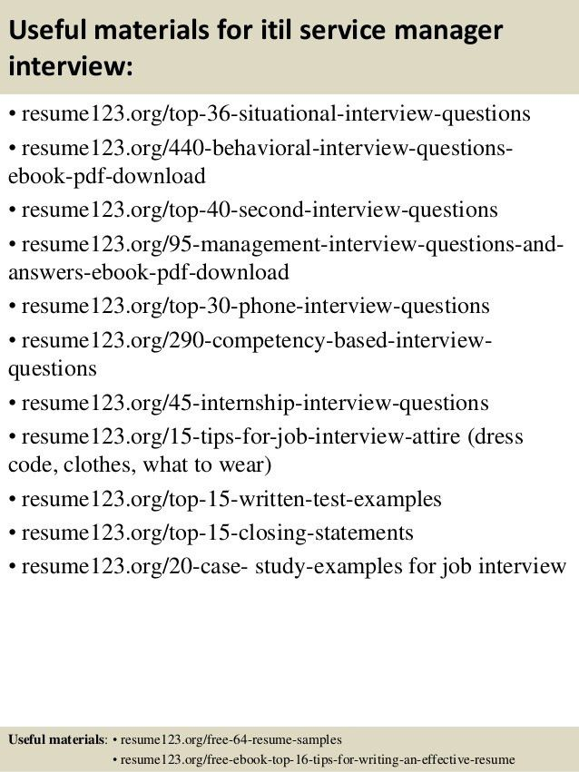 Top 8 itil service manager resume samples