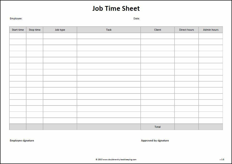 Job Time Sheet Template | Double Entry Bookkeeping