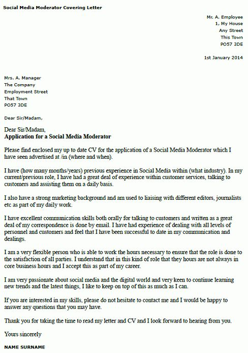Cover Letter for a Social Media Moderator - forums.learnist.org