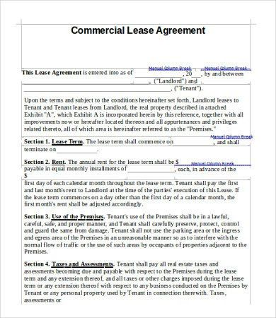 11+ Simple Commercial Lease Agreement Template For Landowner And .