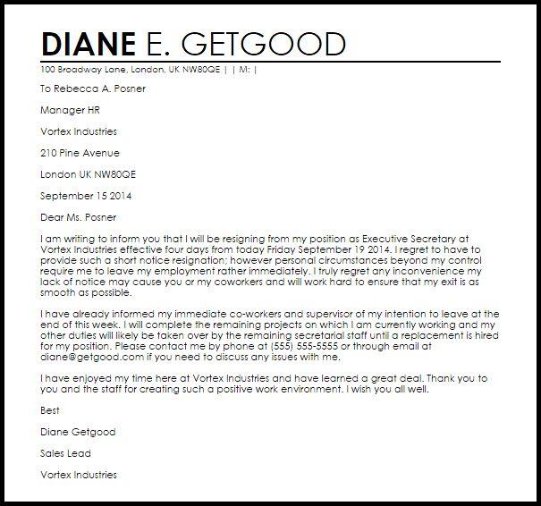 Short Notice Resignation Letter | Resignation Letters | LiveCareer