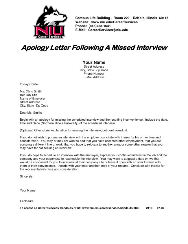 Inspiring Sample of Apology Letter Following a Missed Interview ...