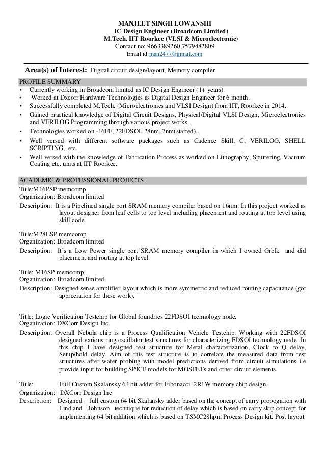 RESUME MANJEET (IC Design Engineer, Broadcom)(IIT Roorkee)