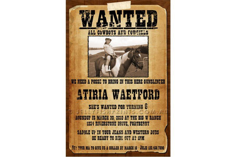 Wanted Poster Cowboy Birthday Invitations - Jellyfish Prints