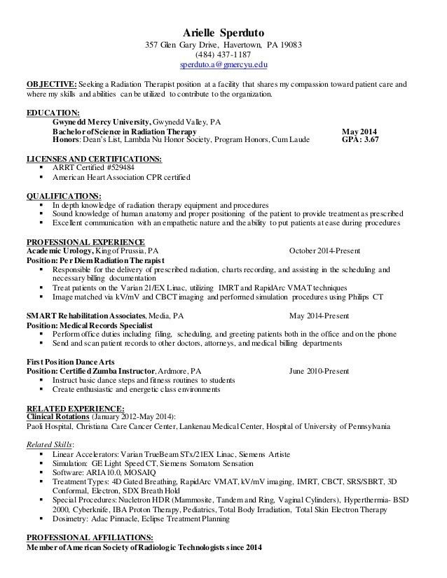 Good Radiation Therapist Resume Sample Arielle Resume   Radiation Therapist  Resume To Radiation Therapist Resume