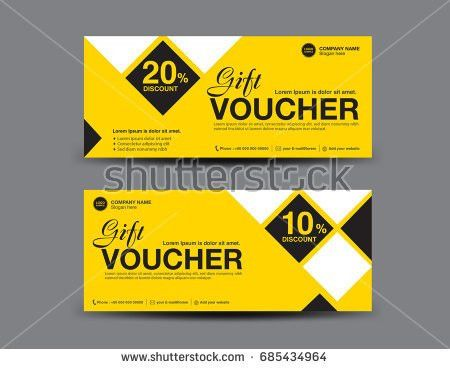 Yellow Discount Voucher Template Coupon Designticket Stock Vector ...