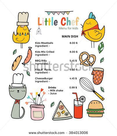 Kids Menu Vector Template Stock Vector 417462829 - Shutterstock