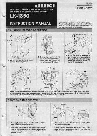 JUKI LK-1850 User's Manual / Instructions Book in PDF format