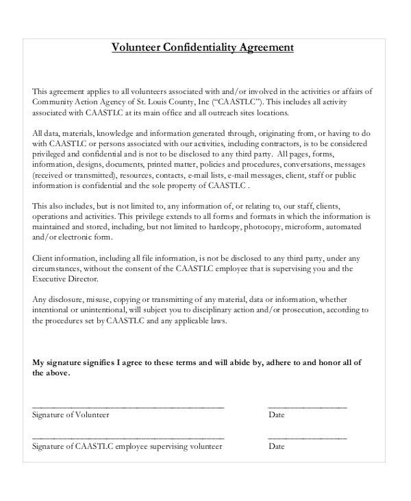 17+ Confidentiality Agreement Templates - Free Sample, Example ...