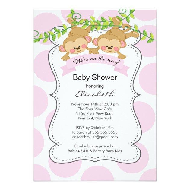 Custom Baby shower Invites Templates for Twins | Babyfavors4u