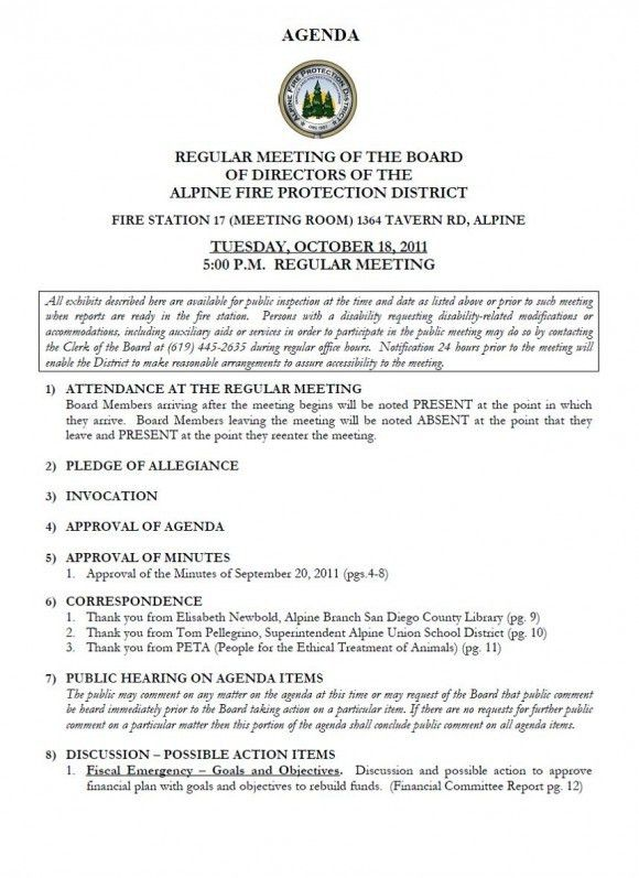 Alpine Fire Board Meeting AGENDA for October 18, 2011
