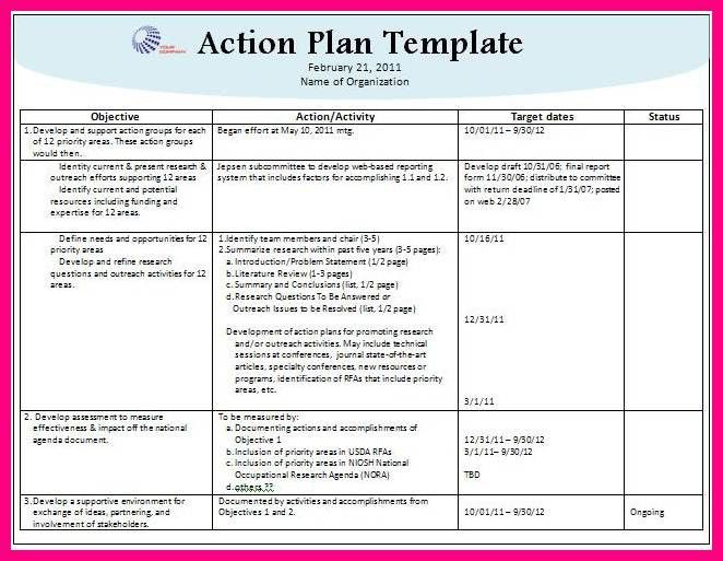 11 action plan template word