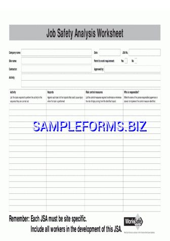 Job Safety Analysis Template 3 pdf free — 1 pages
