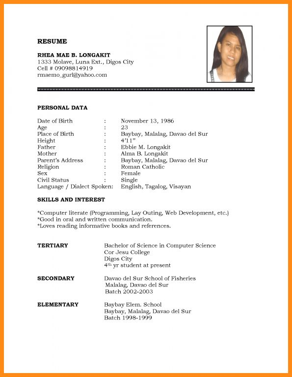 6+ biodata format for student | musicre sumed
