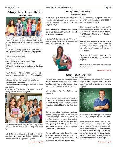 """Classic inside or back page. Try this 11""""x14"""" newspaper template ..."""