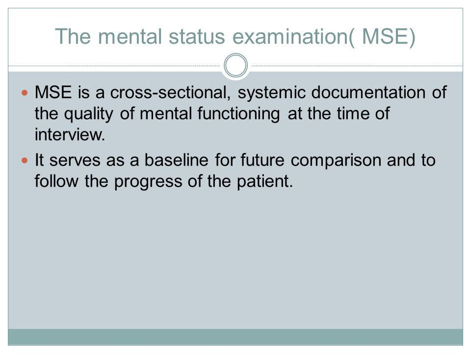 MENTAL STATE EXAMINATION - ppt video online download